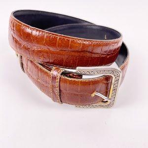 Vintage Axcess Italian Leather Croc Embossed Belt